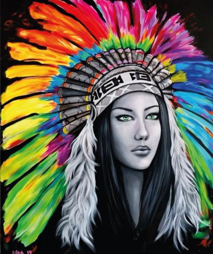 Native American Girl - 100x120 cm