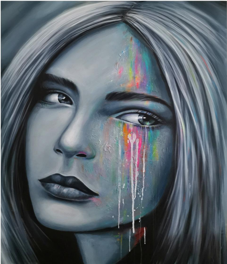 Glancing Girl - 100x130 cm